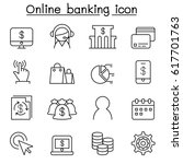 internet banking icon set in... | Shutterstock .eps vector #617701763