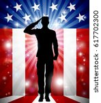 a us soldier saluting in front... | Shutterstock .eps vector #617702300