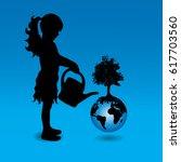 vector silhouette of girl who... | Shutterstock .eps vector #617703560