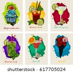 vector cocktails set isolated ... | Shutterstock .eps vector #617705024