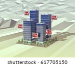 four buildings with bubbles... | Shutterstock . vector #617705150
