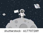 flat design  astronaut stand on ...   Shutterstock .eps vector #617707289