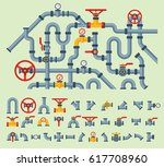 details pipes different types... | Shutterstock .eps vector #617708960