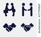 handshake icons set. set of 4... | Shutterstock .eps vector #617709869
