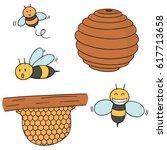 vector set of bee and honeycomb | Shutterstock .eps vector #617713658