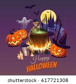 happy halloween illustration... | Shutterstock .eps vector #617721308
