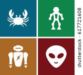 Set Of 4 Creature Filled Icons...