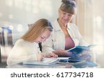 10 years old girl and her... | Shutterstock . vector #617734718