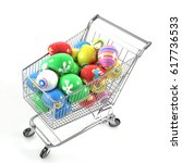shopping cart with easter eggs... | Shutterstock . vector #617736533