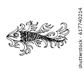 hand drawn fish with decorative ... | Shutterstock . vector #617740214
