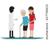 doctor medical with grandmother ... | Shutterstock .eps vector #617740613