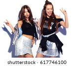 fashion portrait of two smiling ... | Shutterstock . vector #617746100
