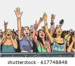 illustration of festival crowd... | Shutterstock .eps vector #617748848