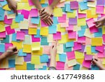 people hands hold note post it | Shutterstock . vector #617749868