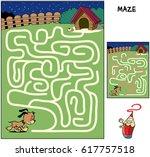 help the sleepy puppy to reach... | Shutterstock .eps vector #617757518