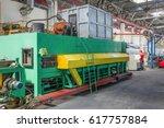 worker behind the dashboard in... | Shutterstock . vector #617757884