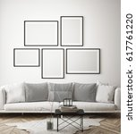 mock up poster frames in... | Shutterstock . vector #617761220