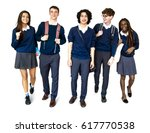 group of diverse high school... | Shutterstock . vector #617770538