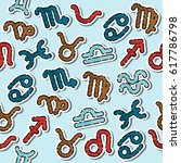 zodiac signs pattern on light... | Shutterstock . vector #617786798