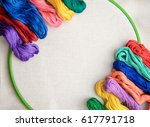 bright embroidery floss in... | Shutterstock . vector #617791718