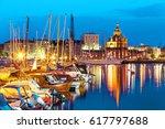 scenic summer evening panorama... | Shutterstock . vector #617797688