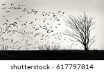 Graphic Image Of A Flock Of...