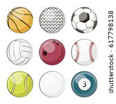 a set of different sport... | Shutterstock . vector #617798138