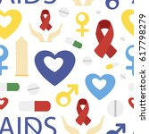 aids day set pattern. protect... | Shutterstock . vector #617798279