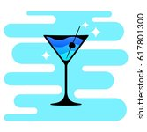 cocktail logo on colored... | Shutterstock .eps vector #617801300