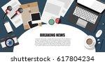 breaking news.journalist concept | Shutterstock .eps vector #617804234