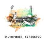 concept of batsman playing in... | Shutterstock .eps vector #617806910