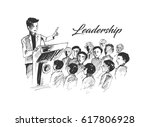 leader and a team. a crowd... | Shutterstock .eps vector #617806928