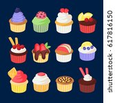 set of colorful cupcakes for...