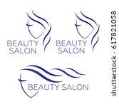 beautiful woman logo template... | Shutterstock . vector #617821058