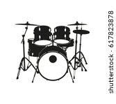Black Silhouette Of Drum In...