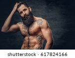 shirtless bearded male with... | Shutterstock . vector #617824166