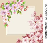 hand drawn watercolor spring... | Shutterstock . vector #617827070