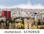 city view with a red block of... | Shutterstock . vector #617828528