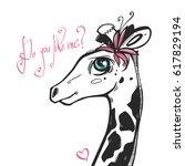 Very Cute Giraffe Girl With...