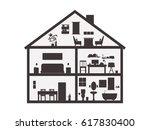 silhouette house inside... | Shutterstock .eps vector #617830400