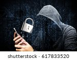 double exposure of hooded cyber ... | Shutterstock . vector #617833520
