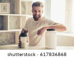 handsome young bearded... | Shutterstock . vector #617836868