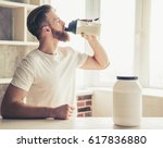 handsome young bearded... | Shutterstock . vector #617836880