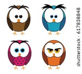 set of four owls isolated on... | Shutterstock .eps vector #617838848