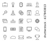 25 business icons in outline... | Shutterstock .eps vector #617843813