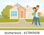 couple standing outside new... | Shutterstock .eps vector #617845658