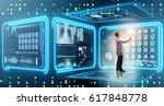man doctor in futuristic... | Shutterstock . vector #617848778