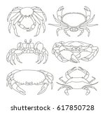 set of crab icons.  | Shutterstock . vector #617850728