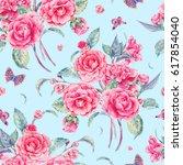 vintage garden watercolor... | Shutterstock . vector #617854040