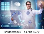 young male doctor in futuristic ... | Shutterstock . vector #617857679